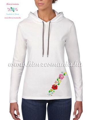 2f509d5129 Kalocsai mintás hosszú ujjú kapucnis női póló - fehér - Hímzésmánia ...