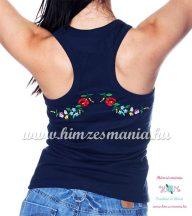 Női trikó hátulján hímzett kalocsai mintával - kék - Hímzésmánia