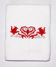 Towels - hungarian heart folk embroidery - white - red design