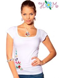Embroidery Mania - T-shirt hungarian folk machine-embroidered - Kalocsa style - white