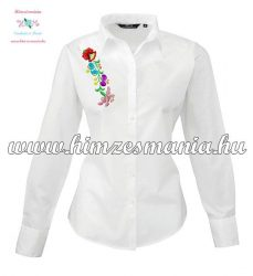 Woman long sleeve shirt - hungarian machine embroidery - Kalocsa style - white