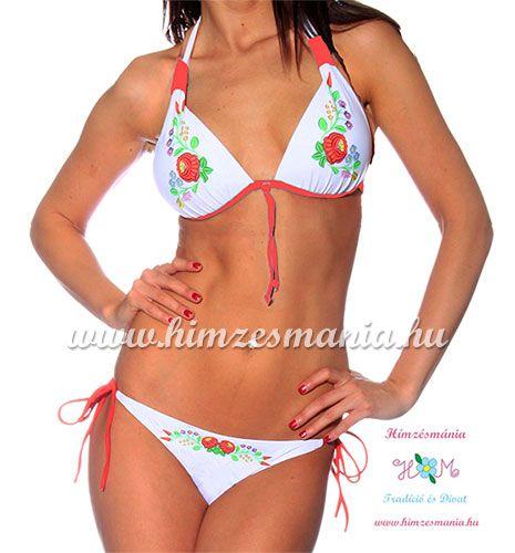 a068b3dd20 Bikini kalocsai mintával - push up - fehér - Hímzésmánia | Divat ...