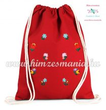 Canvas backpack - folk embroidery - Hungary - Matyo pattern - Red