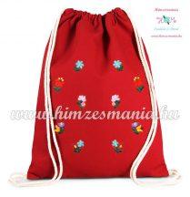 Vászon hátizsák apró matyó mintás - kézi hímzés - piros