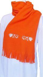 Polar scarf - hungarian folk machine-emboridery - Kalocsai style - unisex - orange