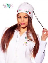 Polar cap - hungarian folk machine-embroidery - Kalocsa style - white