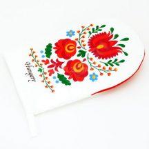 Oven gloves - hungarian folk - Matyo style - white