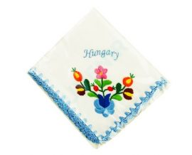 Handkerchief - hungarian folk embroidery - Matyo style - blue Hungary
