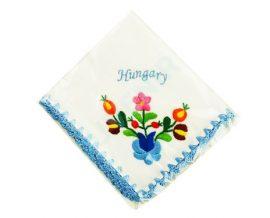 Handkerchief - hungarian folk embroidery - Matyo style - blue Hungary