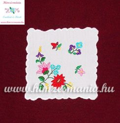 Tablecloth - hungarian folk - hand embroidery - Kalocsa style - 16x16 cm