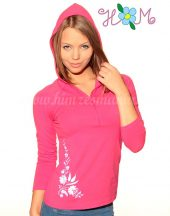Embroidery Mania - T-shirt long sleeve hungarian folk machine-embroidered - Kalocsa style - pink