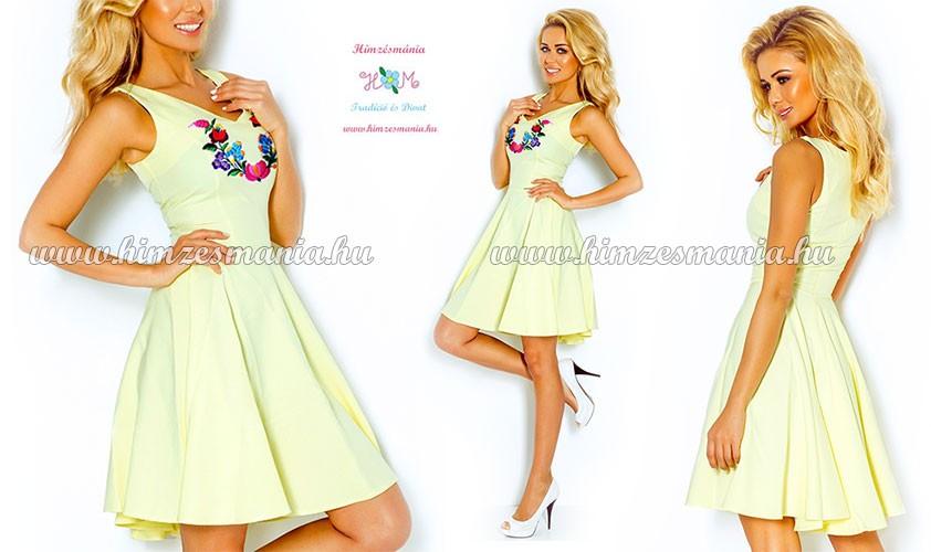 Kalocsai mintás loknis ruha - gépi hímzés - sárga - Hímzésmánia ... 09f966b063