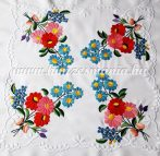 Small tablecloth - hungarian folk - hand embroidery - Kalocsa style - 36x36 cm