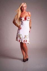 Fehér női ruha kalocsai mintás betéttel (S-M)