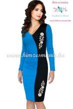 Elegant dress long sleeve - hungarian folk machine-embroidery - Kalocsai style - blue