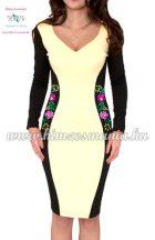Hosszú ujjú elegáns női ruha - matyó mintás - kézi hímzés - sárga (40)