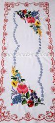 Tablecloth - hungarian folk - hand embroidery - Kalocsa style- 35x84 cm