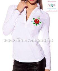 Women polo shirt - long sleeve - machine embroidery - folk rose - white