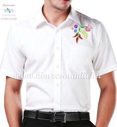 Rövid ujjú férfi ing - kalocsai minta - gépi hímzés - fehér