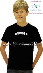 Black T-shirt boys - hungarian machine embroidery - white Kalocsa motif