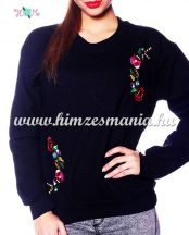 Women sweatshirt - hungarian folk machine embroidery - kalocsai motif - black