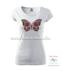 Fehér póló - kalocsai pillangós -nyomott minta