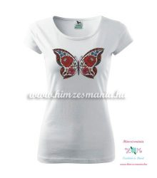 T'shirt - hungarian butterfly - Kalocsa style - white