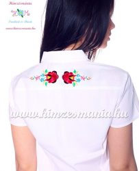 Women's shirt - hungarian folk machine embroidery - Kalocsa style - Embroidery Mania - white