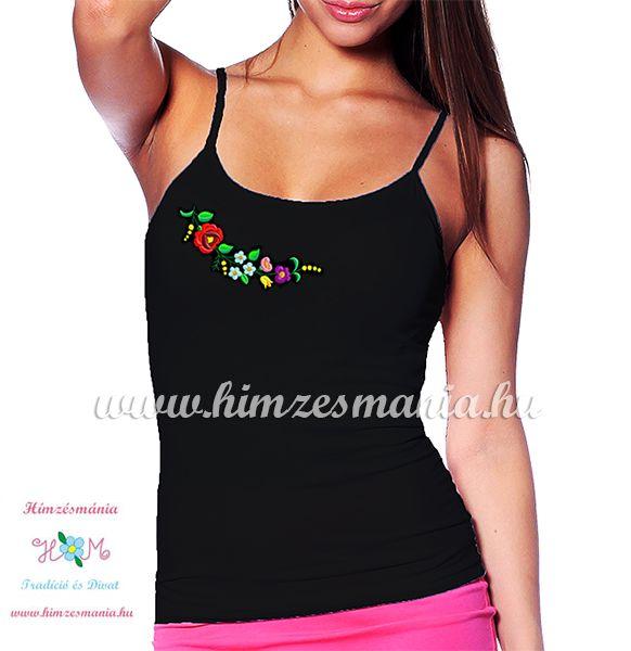 Spaghetti strap top - hungarian folk - machine embroidery - Kalocsa pattern  - black 275f642984