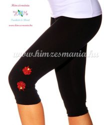 Capri leggings - hungarian folk machine embroidered - Kalocsa rose - black