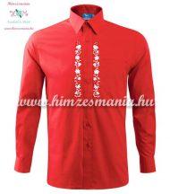 Piros férfi ing fehér kalocsai mintával - gépi hímzés