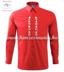 Gents Shirt Long Sleeve - hungarian folk fashion - Kalocsa style - machine embroidery - Red