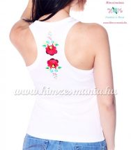 Tank top - machine embroidery - hungarian Kalocsa design - white - Embroidery Mania