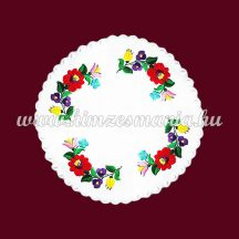 Tablecloth with hungarian folk embroidery - Kalocsa motif - round - 34 cm