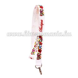 Neck strap - folk hand embroidery - hungarian printed embroidery pattern - white
