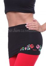 Waist Warmer machine embroidered Kalocsa style - black