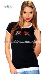 T-shirt - hungarian folk machine embroidered - Kalocsa rose - black