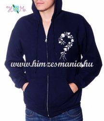 Man sweatshirt - hungarian folk embroidery - white kalocsa motif - navy