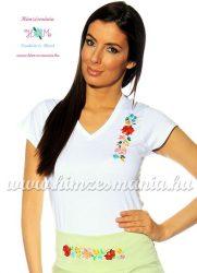 T-shirt V-neck - hungarian folk machine embroidered - Kalocsa style - white