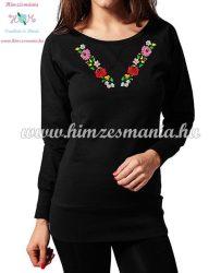 Hosszú ujjú női pulóver tunika - kalocsai mintás - gépi hímzés - fekete