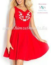 Kalocsai fehér mintás loknis ruha/menyecske ruha - gépi hímzés - piros