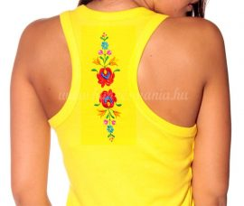 Hímzésmánia - hátulján hímzett matyó mintás trikó - sárga