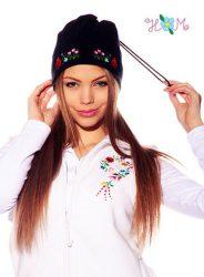 Polar cap - hungarian folk machine-embroidery - Kalocsa style - navy