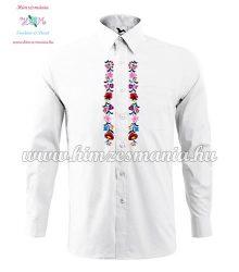 Kalocsai férfii ing - hosszú ujjú - fehér - gépi hímzés