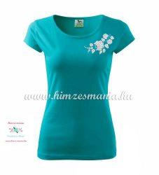 Woman's Short Sleeve T-Shirts - hungarian folk embroidery - Kalocsa motif - turquoise