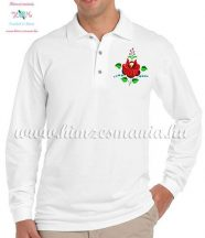 Men's polo shirt - long sleeve - machine embroidery - folk rose - white