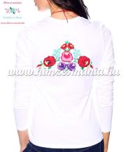 Ladies long sleeve T-shirt - hungarian folk hand embroidered - Kalocsa style - white