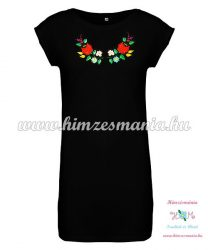 Ladies' long T-shirt - hungarian folk embroidery - Kalocsa Style - black