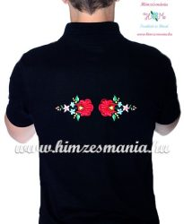 Men's pique polo shirt - folk machine embroidery - Kalocsa style - black - Embroidery Mania