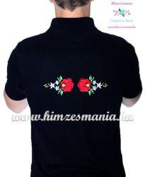 Kalocsai mintás elején-hátulján hímzett férfi piké pólóing - fekete (S) - Hímzésmánia